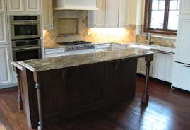 Kitchen center isle and marble deco panel back splash