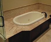 Oval bath tub and tile