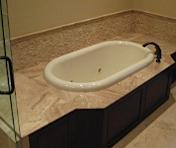 Oval bath tub and tile